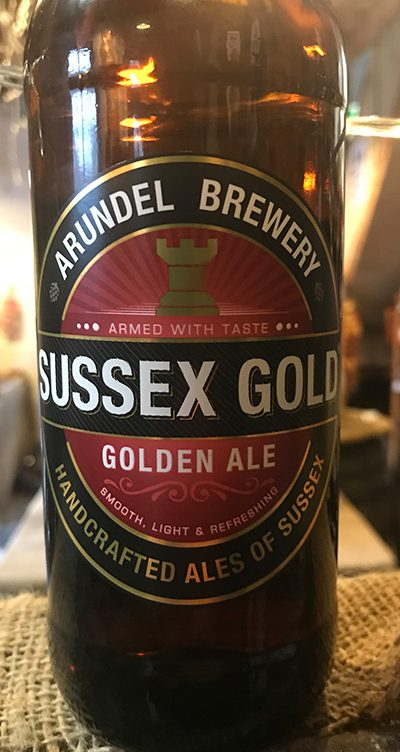 A rich golden beer with a hoppy